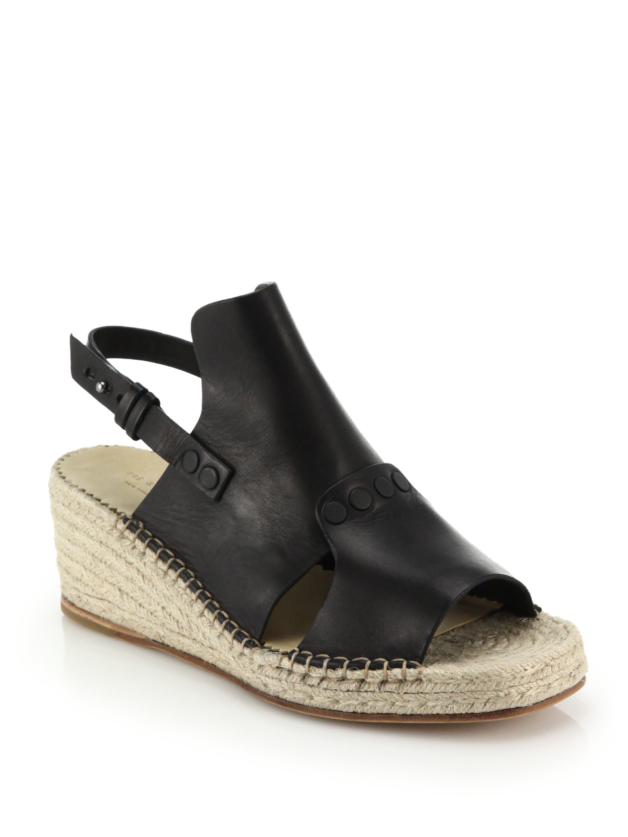 0d949f7f6ff Rag & Bone Black Sayre Ii Leather & Espadrille Wedge Sandals