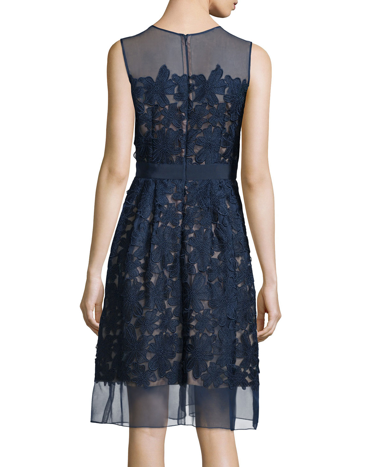 Carmen Marc Valvo Sleeveless Lace Fit Amp Flare Cocktail