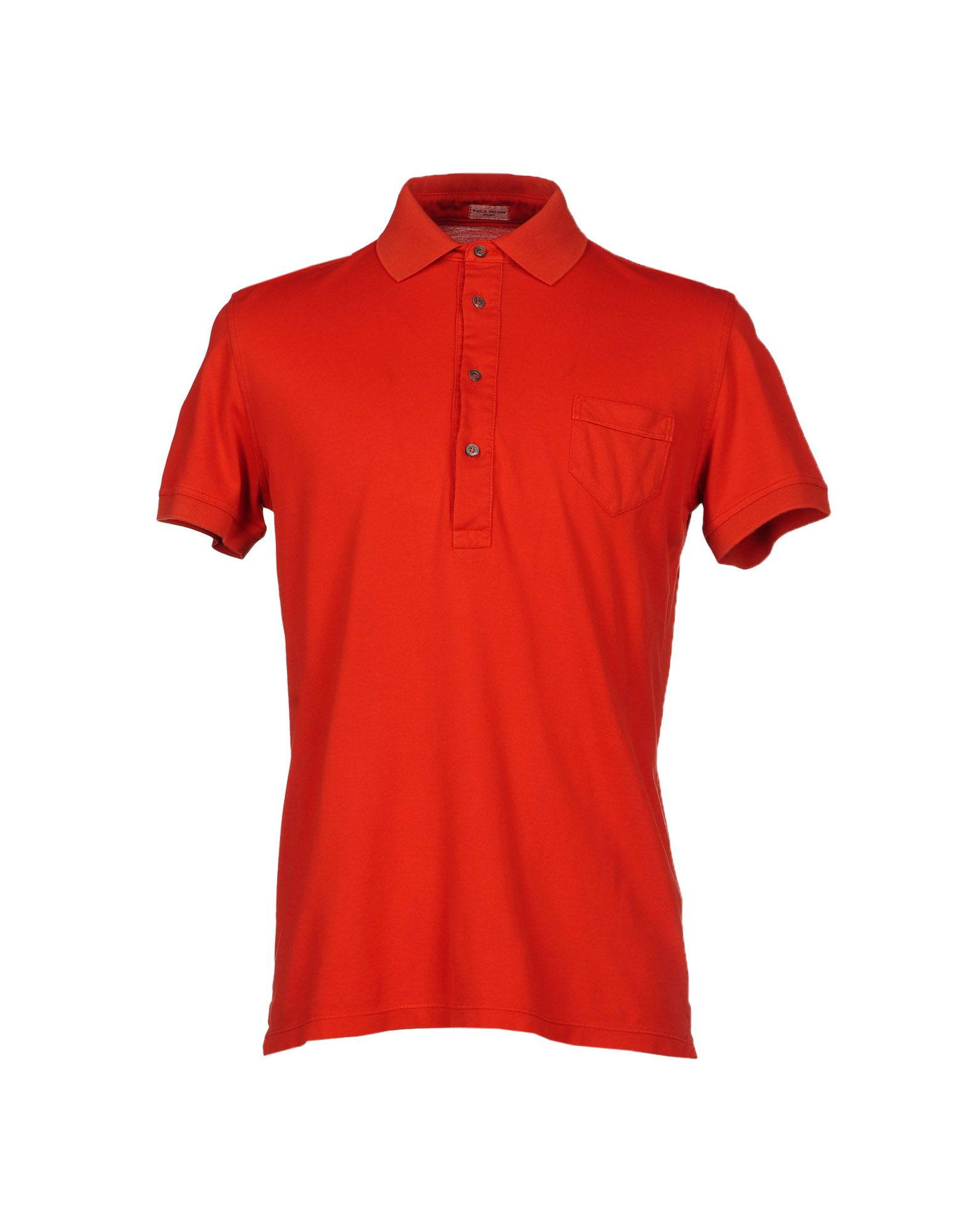 Lyst paolo pecora polo shirt in orange for men for Mens orange polo shirt