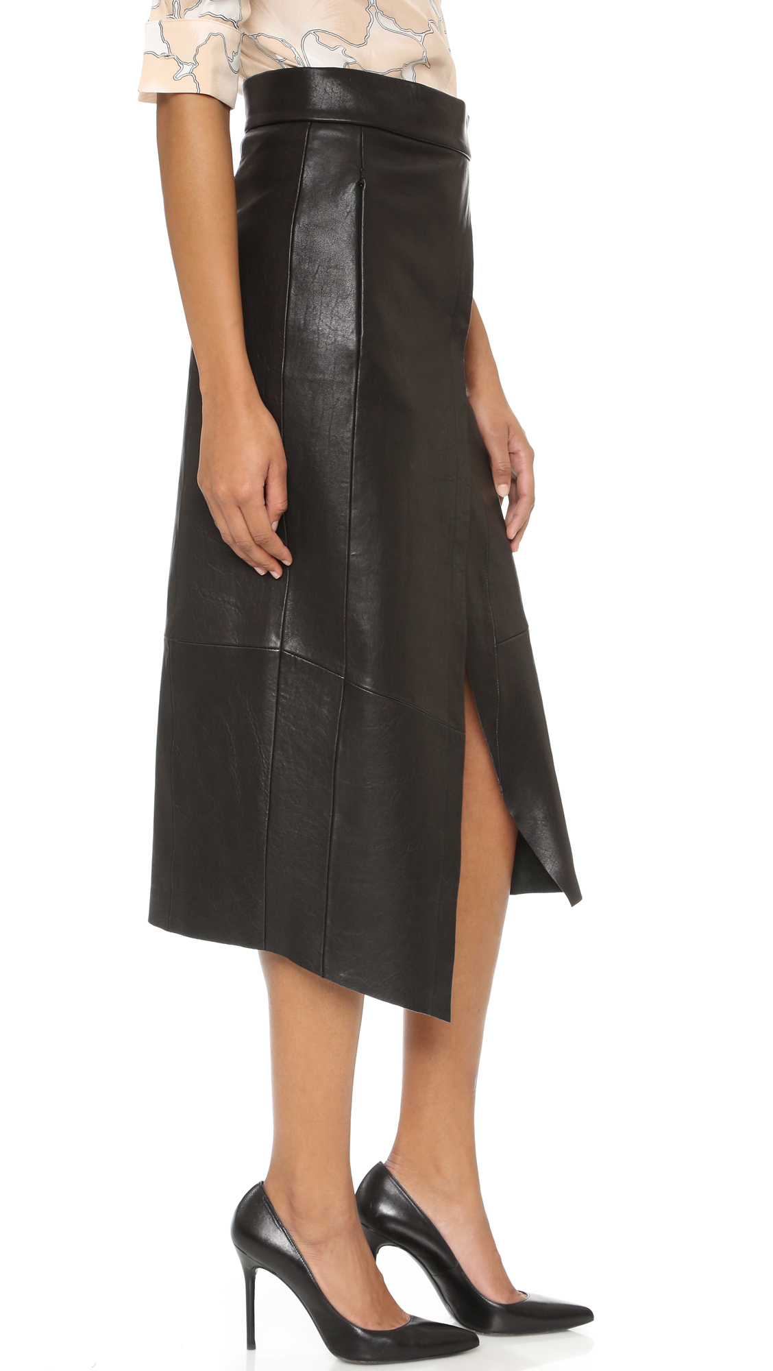 veda crosby leather skirt in black lyst
