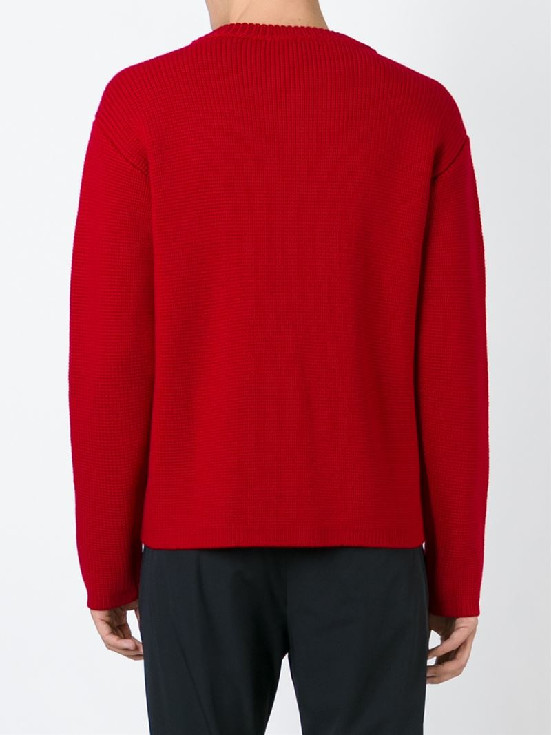 Ports 1961 Cable Knit Sweater in Red for Men | Lyst