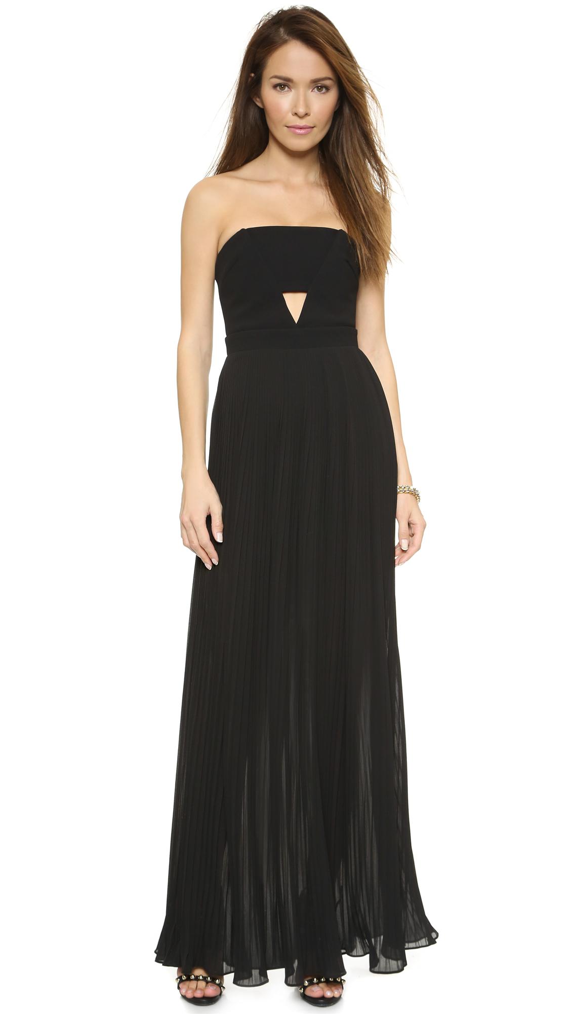 Nicholas Strapless Pleat Maxi Dress Black Lyst