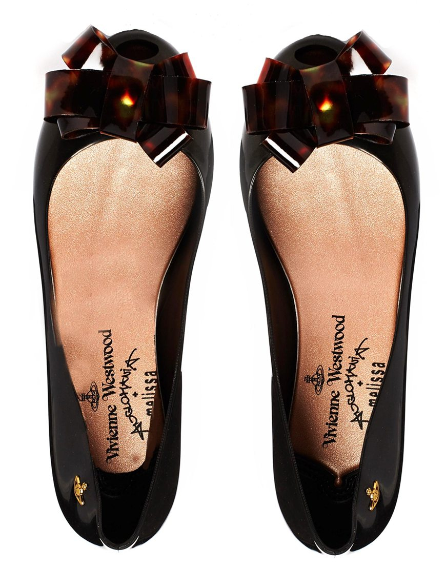 7c6822361f Melissa + Vivienne Westwood Anglomania Tortoise Shell Bow Flat Shoes ...