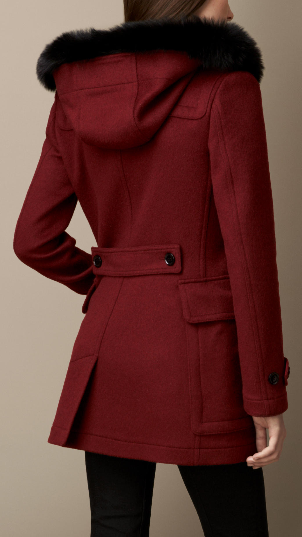 Lyst Burberry Detachable Fur Trim Fitted Duffle Coat In Red