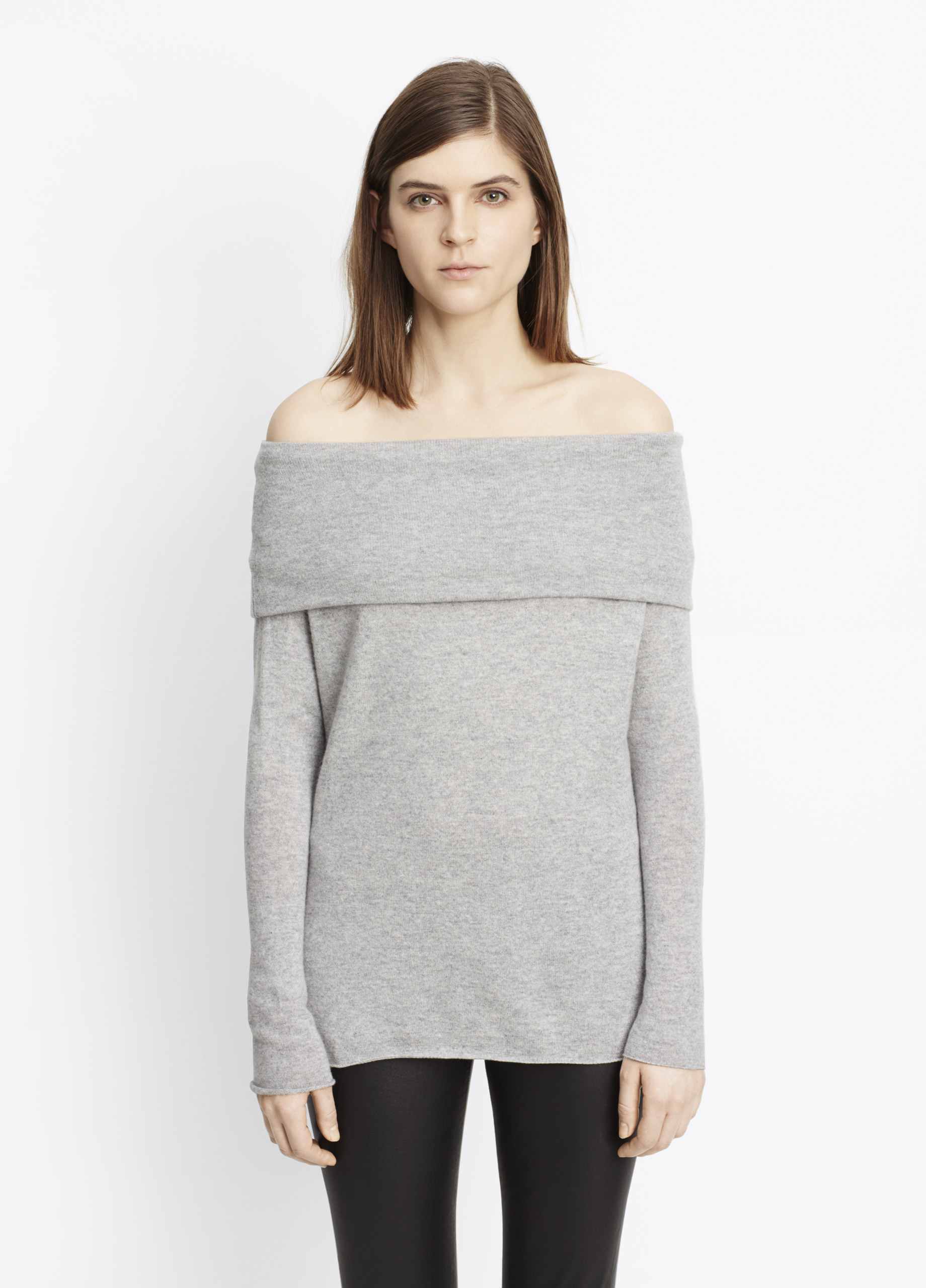 Vince Cashmere Off-the-shoulder Relaxed Pullover Sweater ...