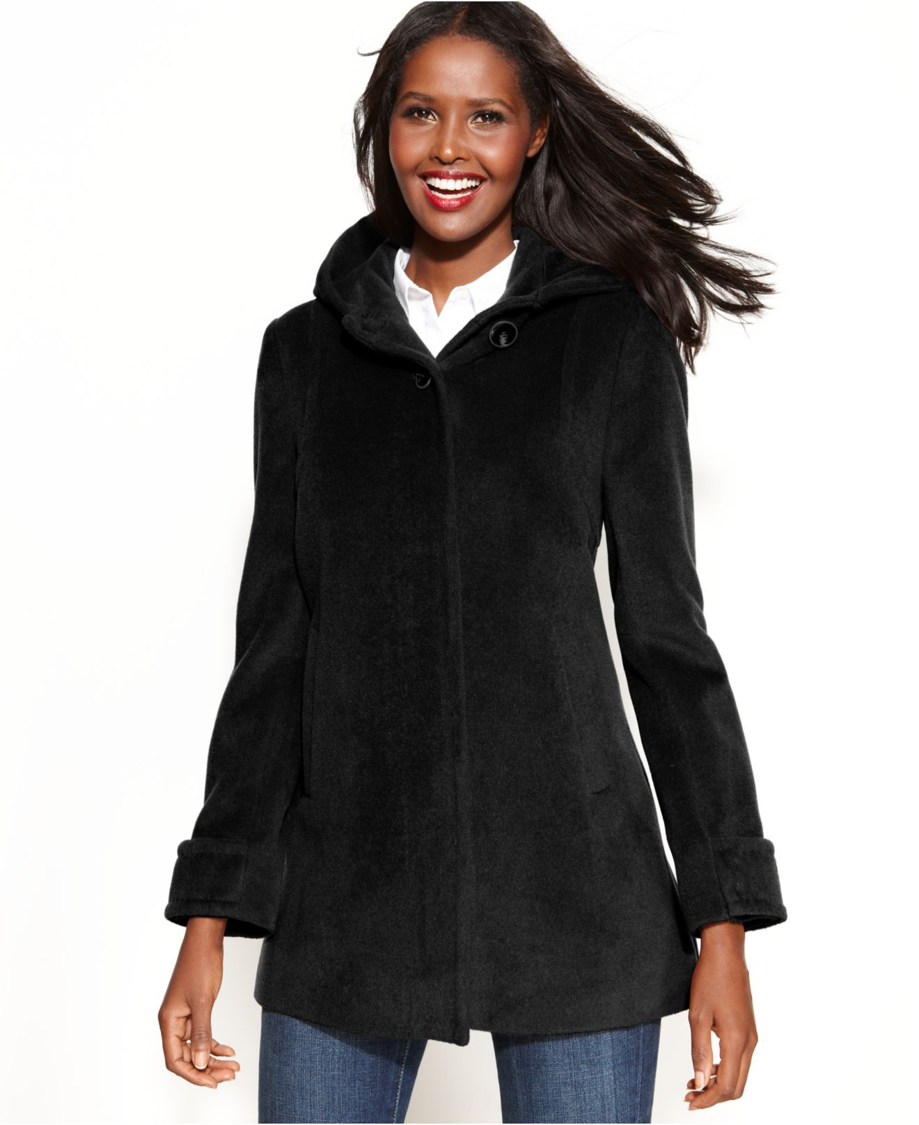 Black Hooded Coat Jacketin