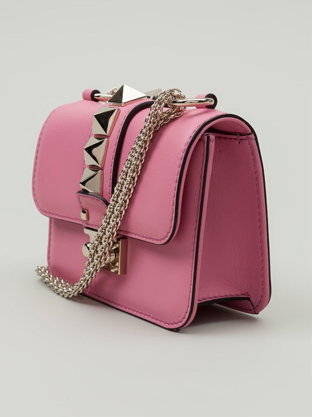 valentino glam lock leather shoulder bag in pink pink