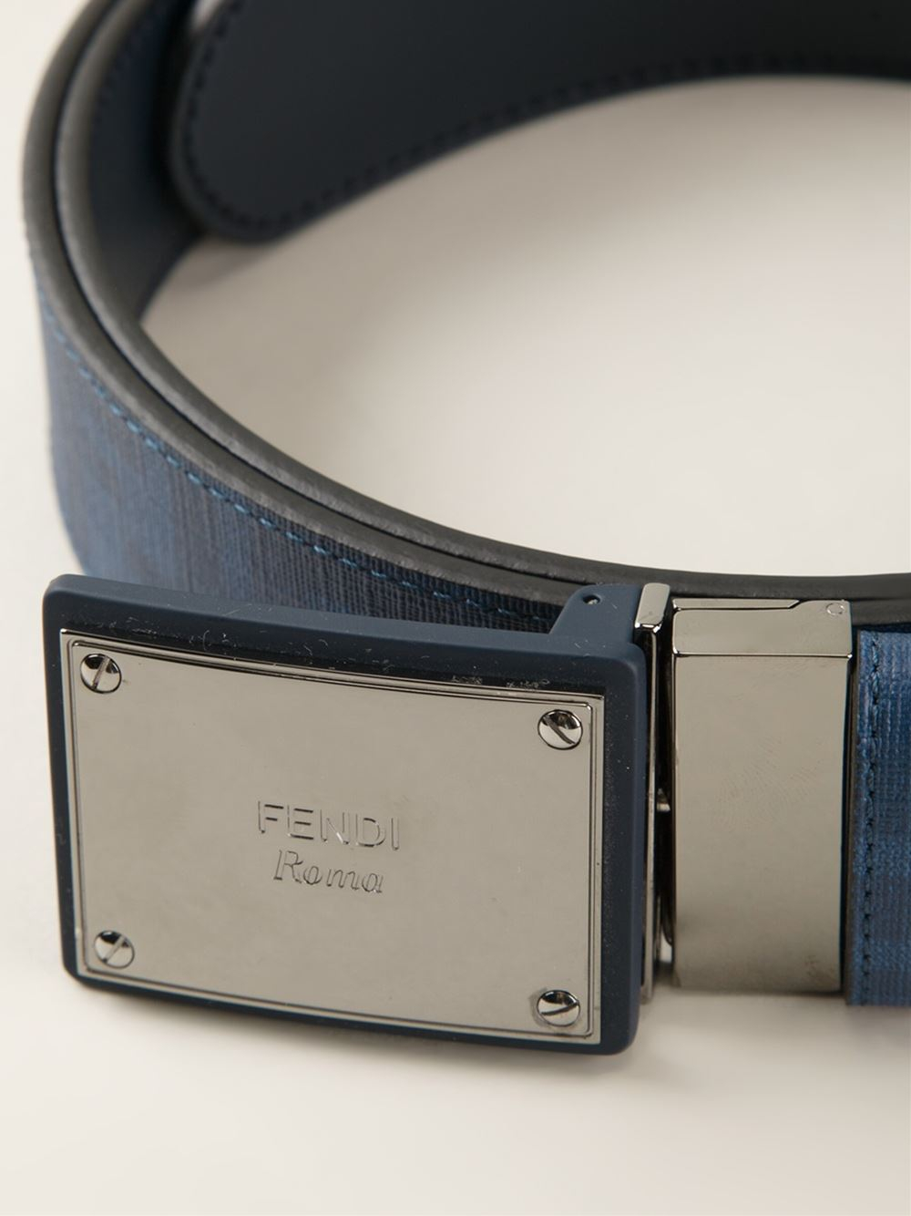 Fendi Logo Plaque Buckle Belt in Blue for Men | Lyst