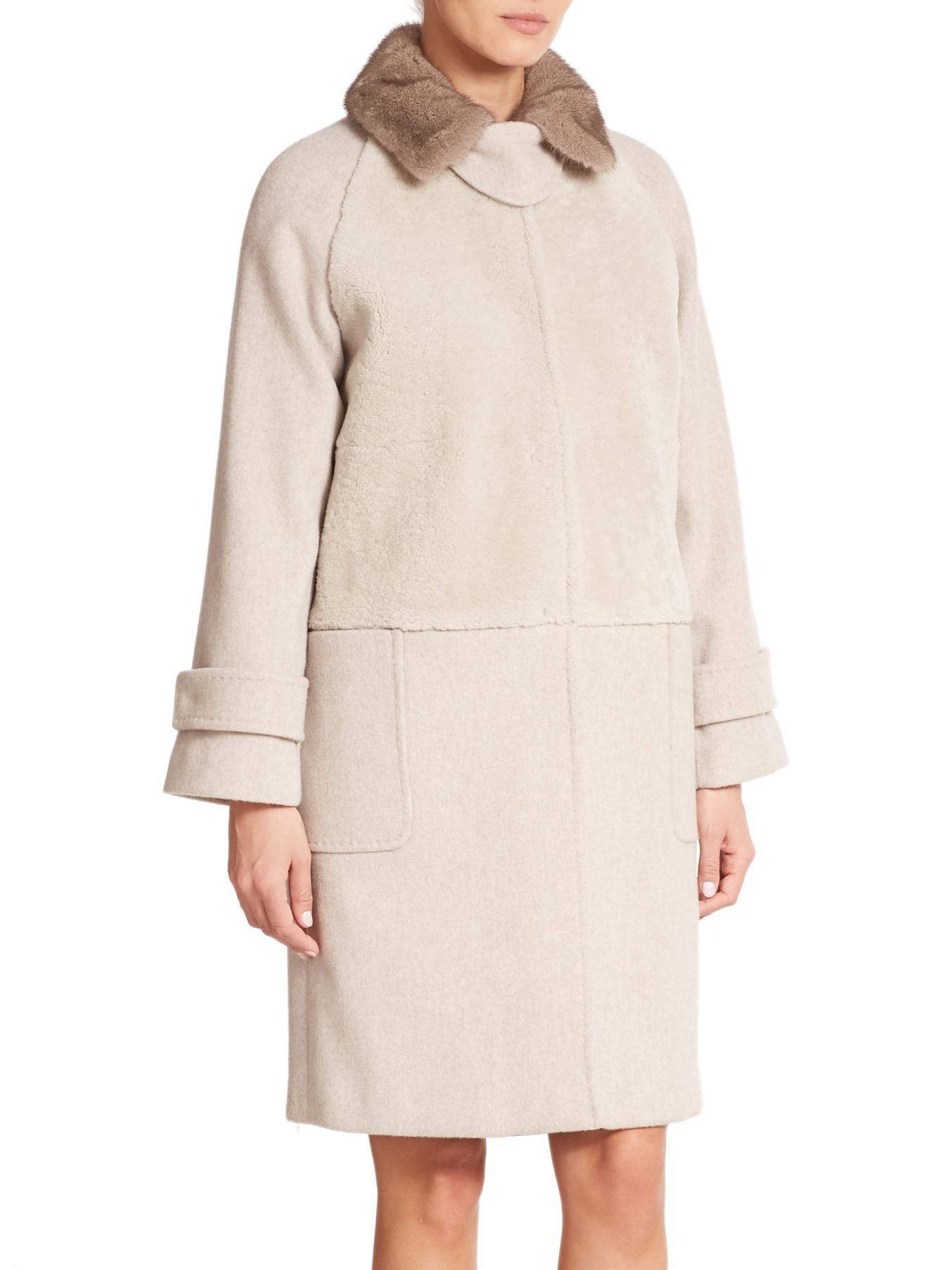 Max mara Bolero Mink-collared Shearling & Wool/cashmere Coat in ...