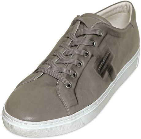 Dolce & Gabbana Messico Washed Leather Sneakers in Gray for Men (grey)