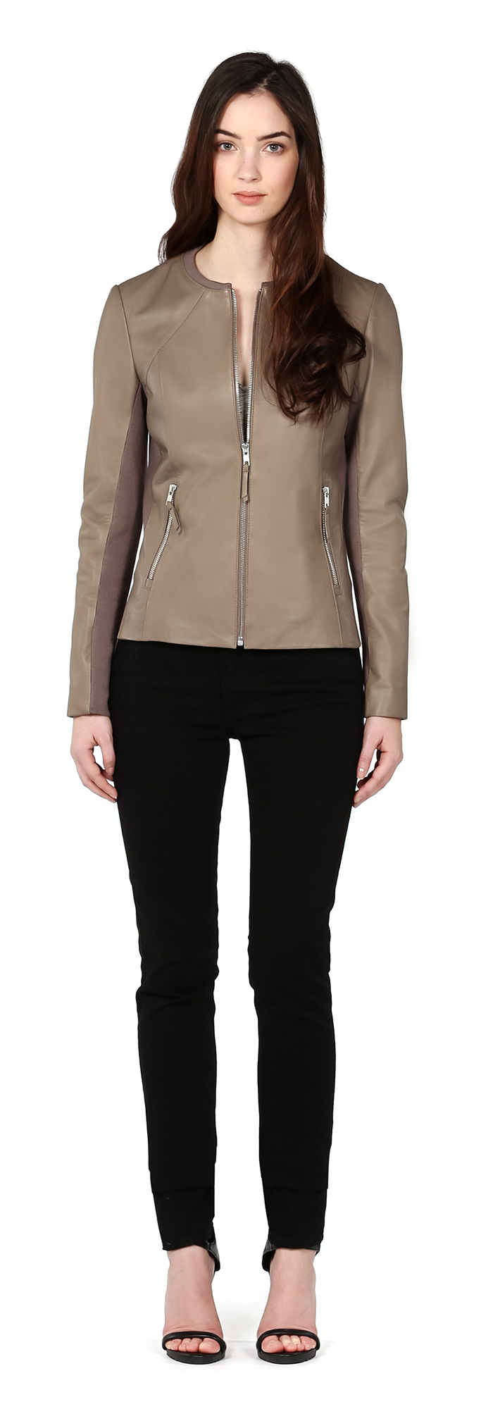 Soia Amp Kyo Rylee Classic Collarless Leather Jacket In