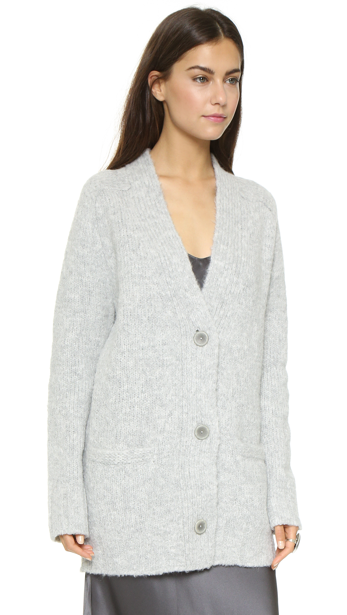 Nili lotan Ex Bf Cardigan - Pale Grey in Gray | Lyst