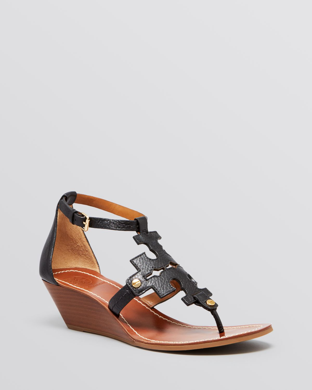 133ede86d13 Lyst - Tory Burch Wedge Sandals - Chandler Logo in Black