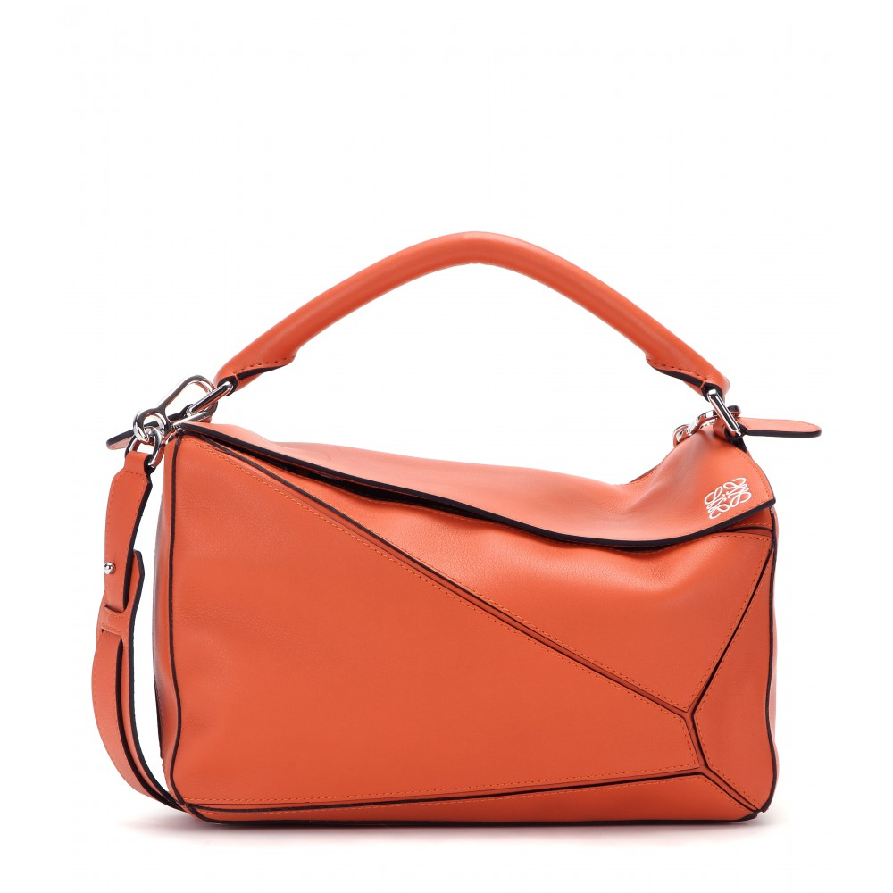 Lyst Loewe Puzzle Small Leather Bag In Orange