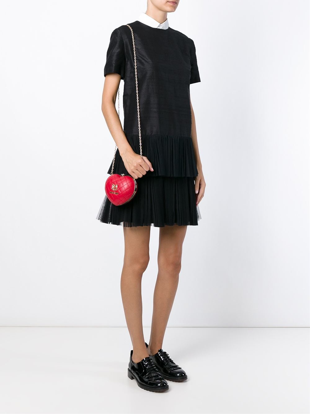 Love Moschino Quilted Heart Clutch In Metallic Lyst