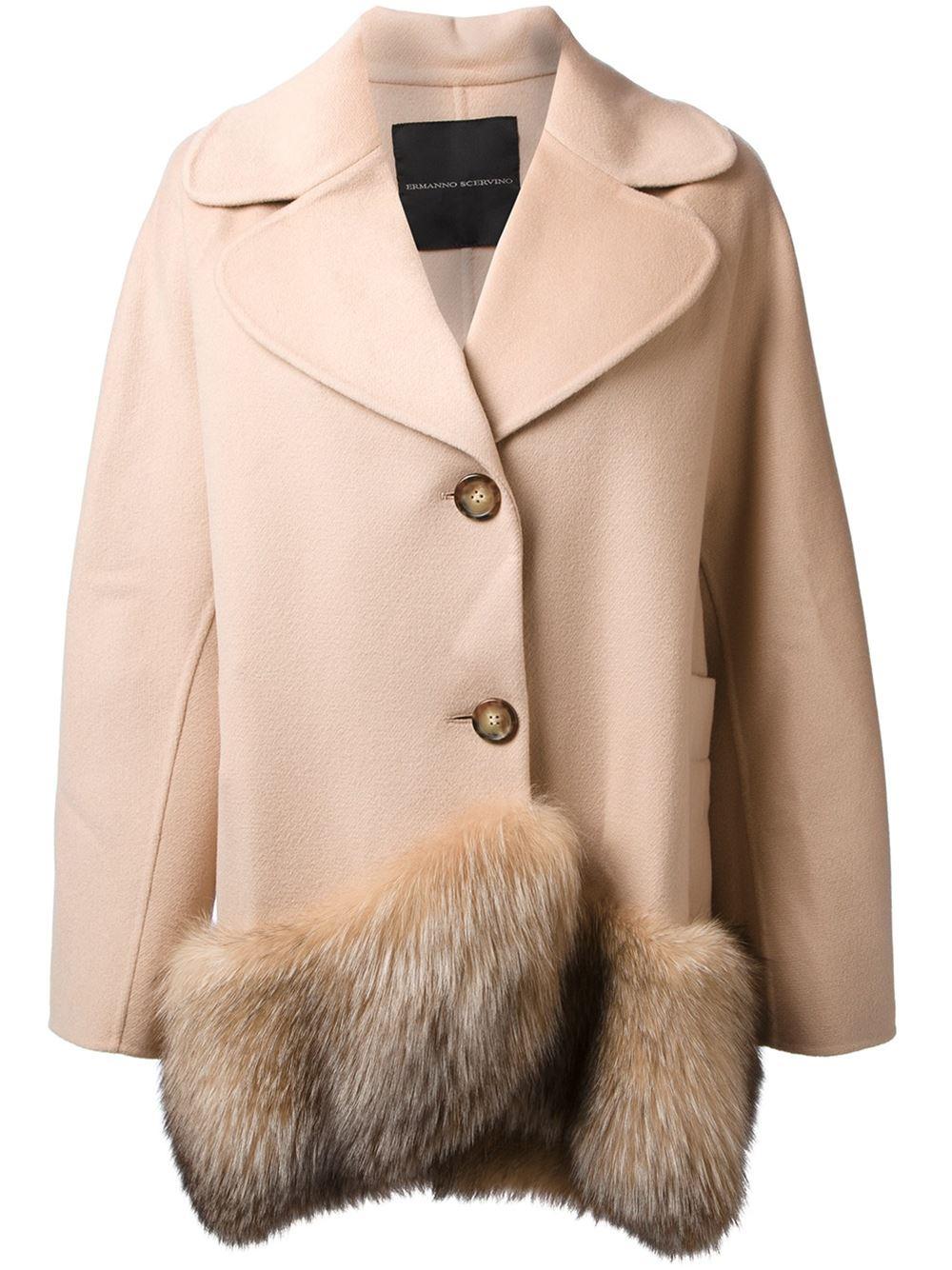 on sale 58736 ddce0 Ermanno Scervino Fox Fur Trimmed Coat in Natural - Lyst