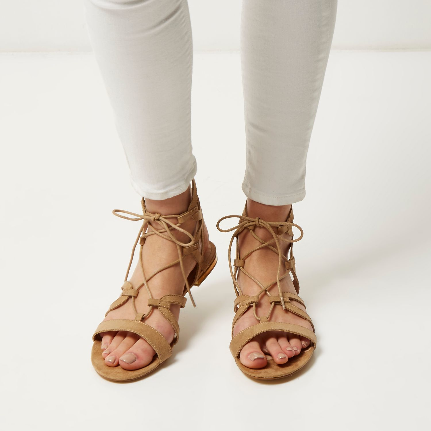united states best quality great look Beige Caged Lace-up Gladiator Sandals