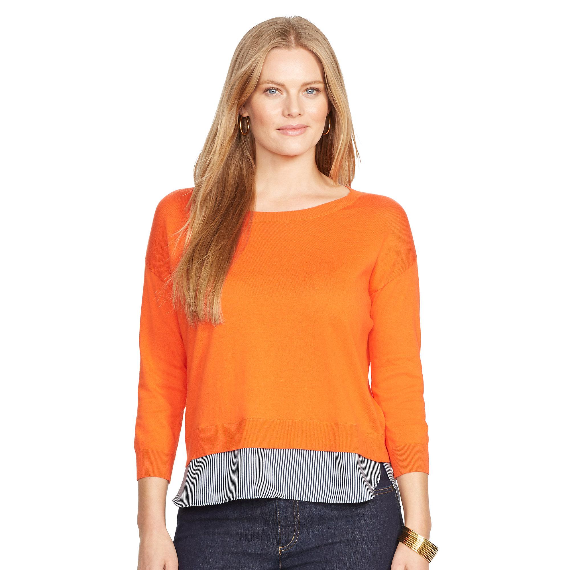 4b8046d64 ... order lyst ralph lauren layered crewneck sweater in orange 90dc9 f0a7f