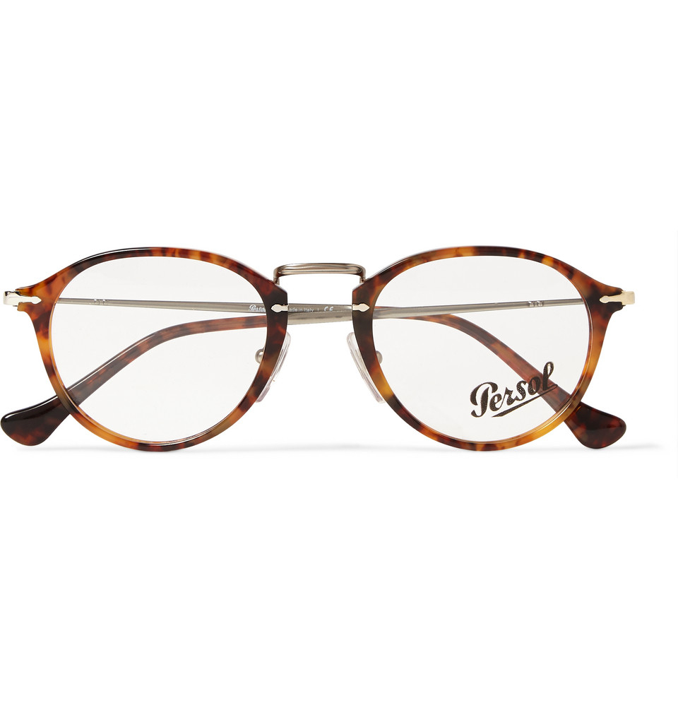 Lyst - Persol Round-Frame Acetate And Metal Optical Glasses in Brown ...