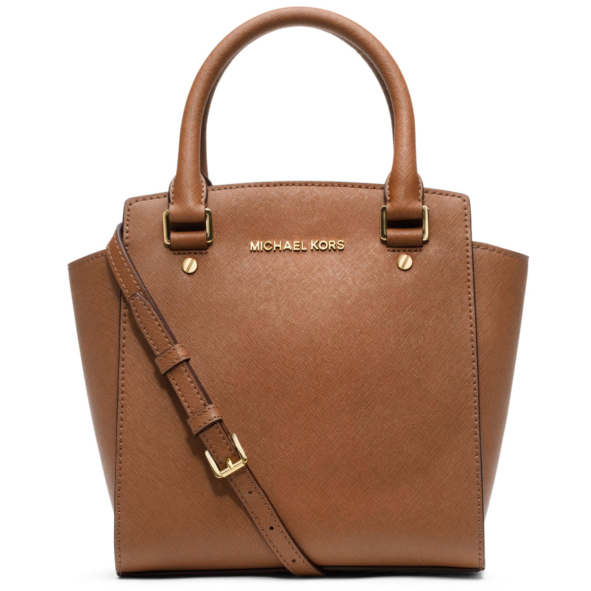 michael kors selma large messenger bag in brown luggage lyst. Black Bedroom Furniture Sets. Home Design Ideas