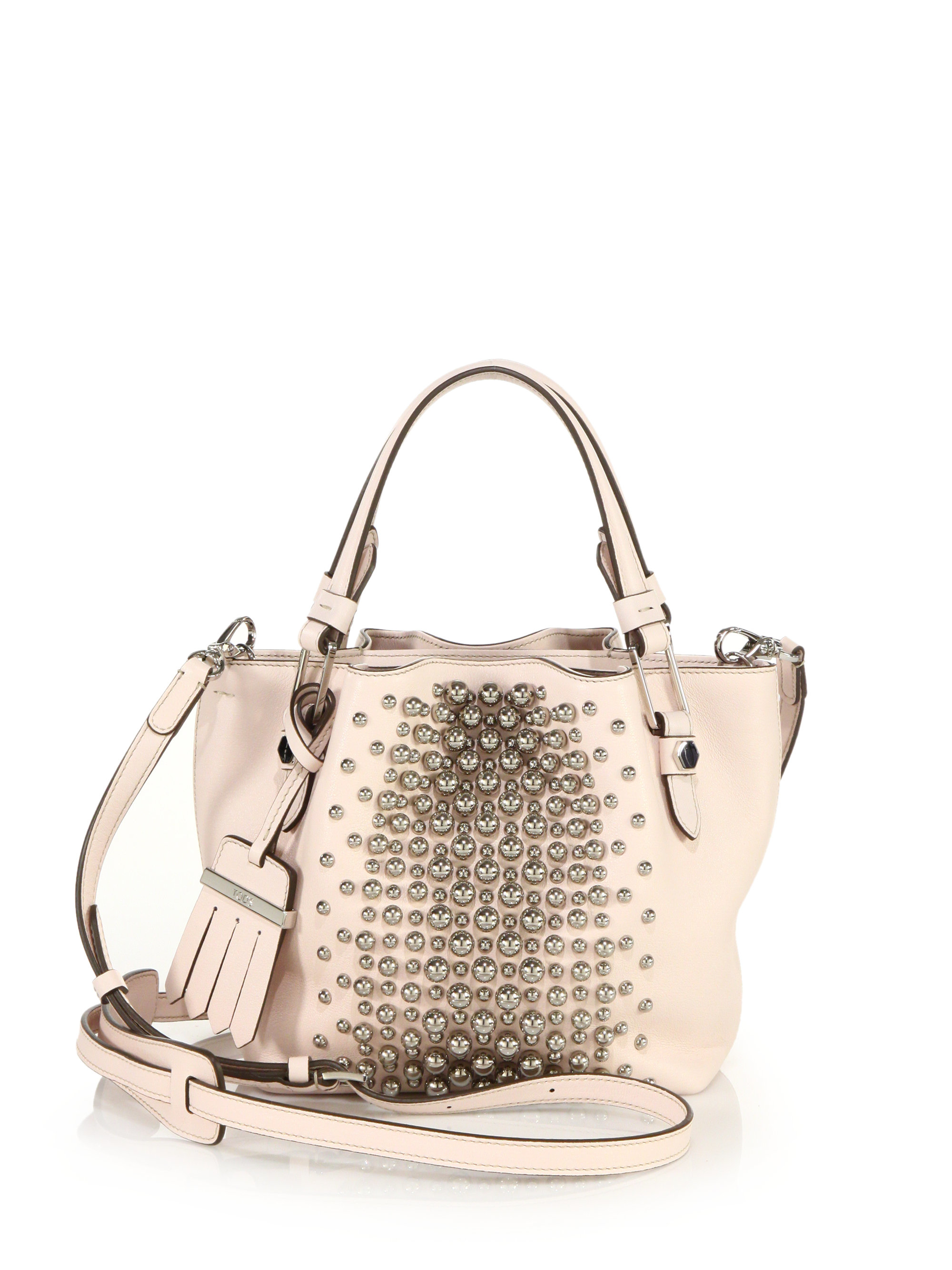 e84da09864 Tod's Flower Micro Studded Leather Tote in Pink - Lyst