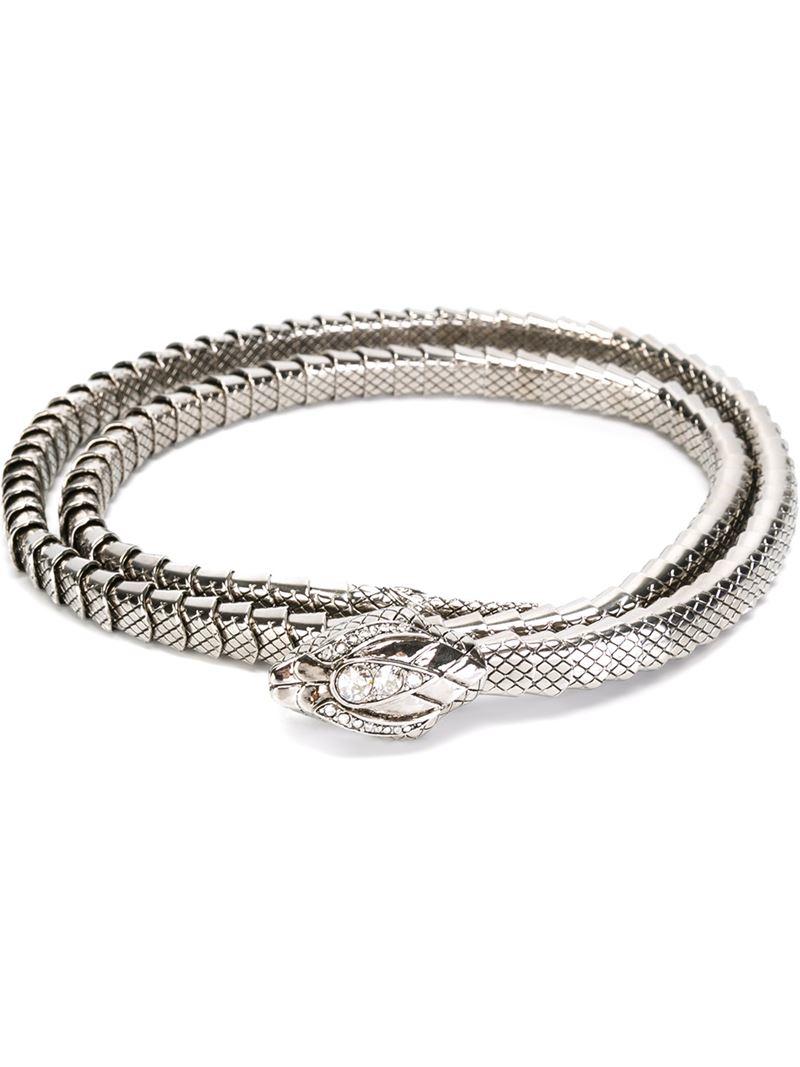 Lyst Roberto Cavalli Metal Snake Belt In Metallic
