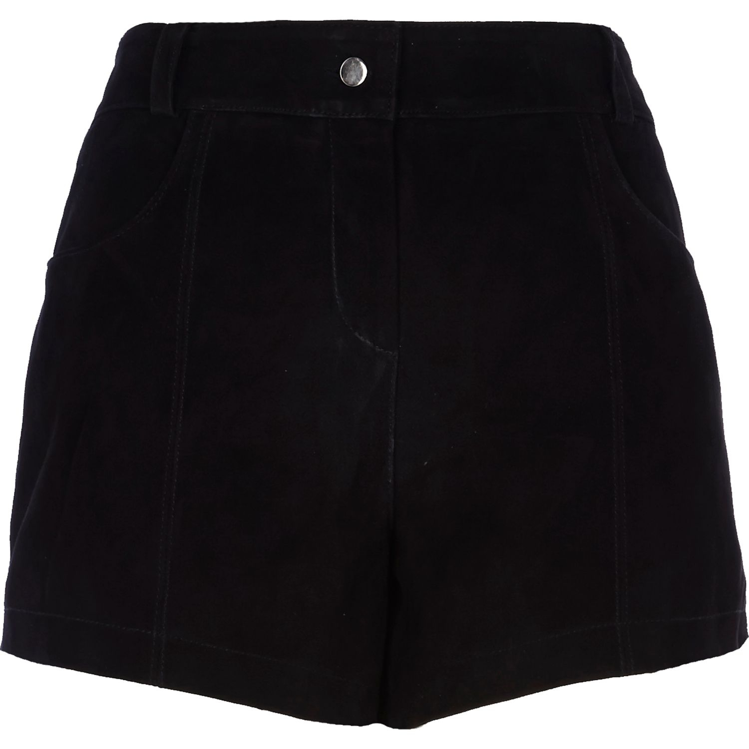 River island Black Suede High Waisted Shorts in Black   Lyst