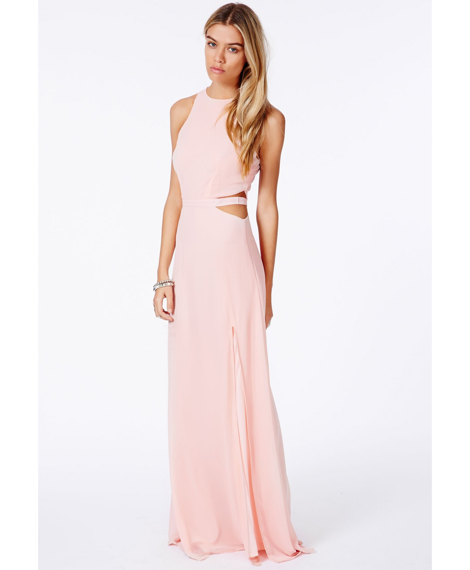 Missguided Anthea Cut Out Split Maxi Dress In Nude In Pink -6963