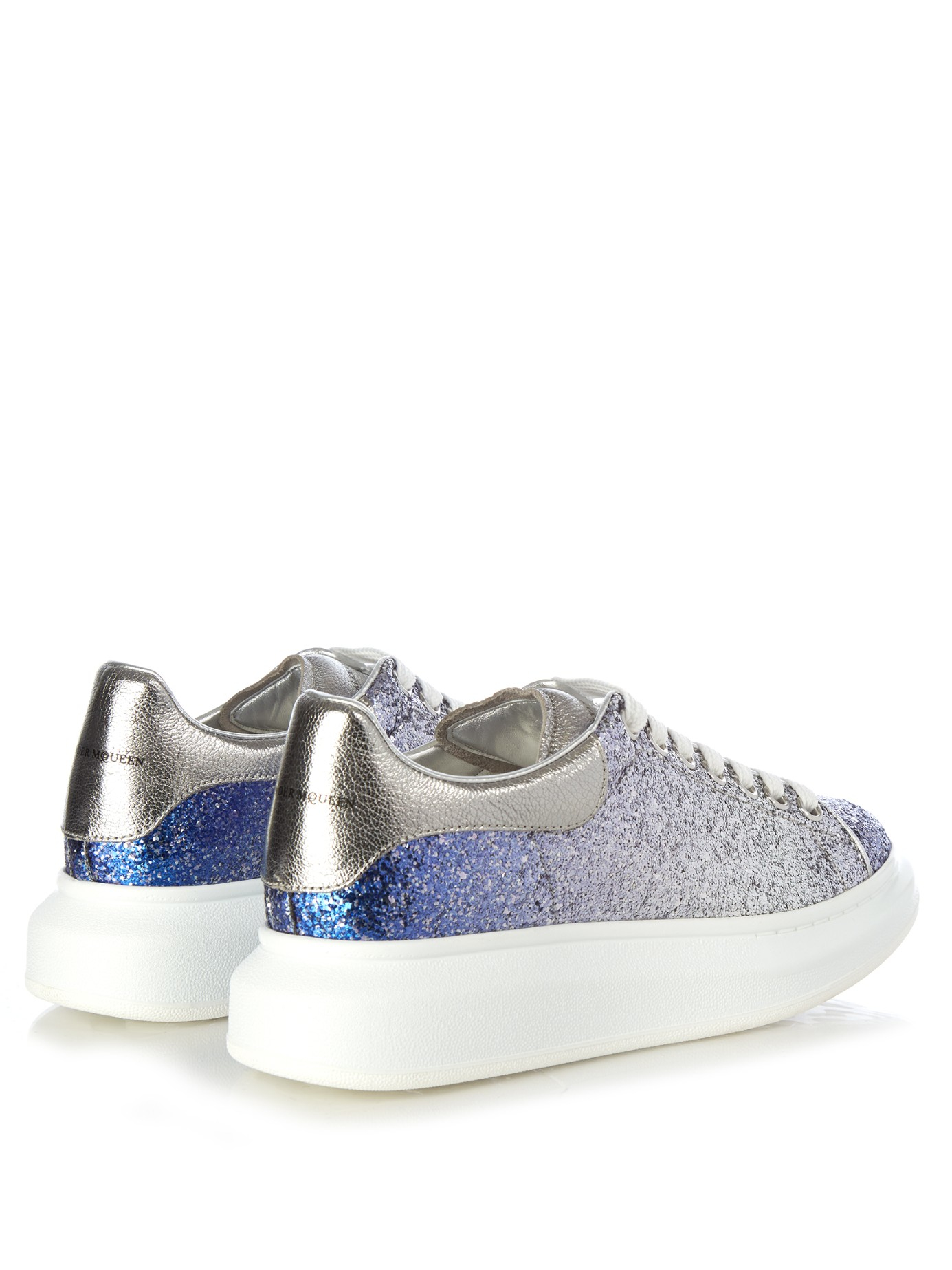 alexander mcqueen glittered leather sneakers in blue lyst. Black Bedroom Furniture Sets. Home Design Ideas