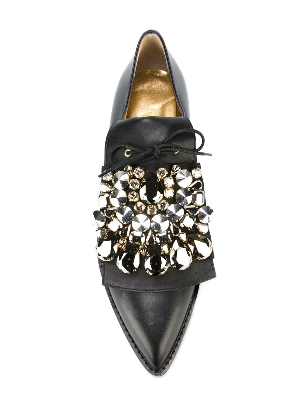 Lyst Gedebe Embellished Lace Up Shoes In Black
