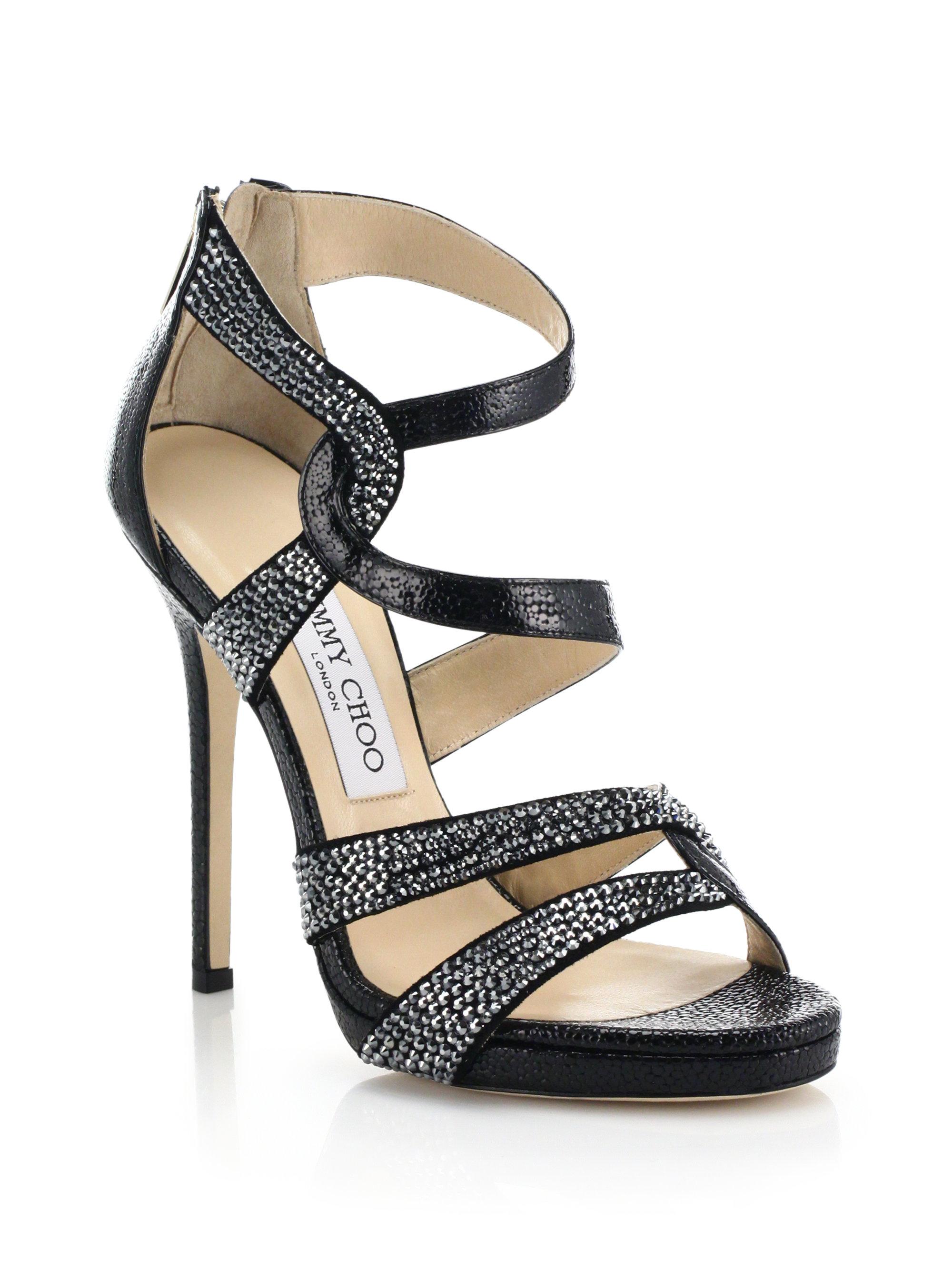 5ad5f9090106d8 Lyst - Jimmy Choo Swarovski Crystal Pebbled Leather Sandals in Black