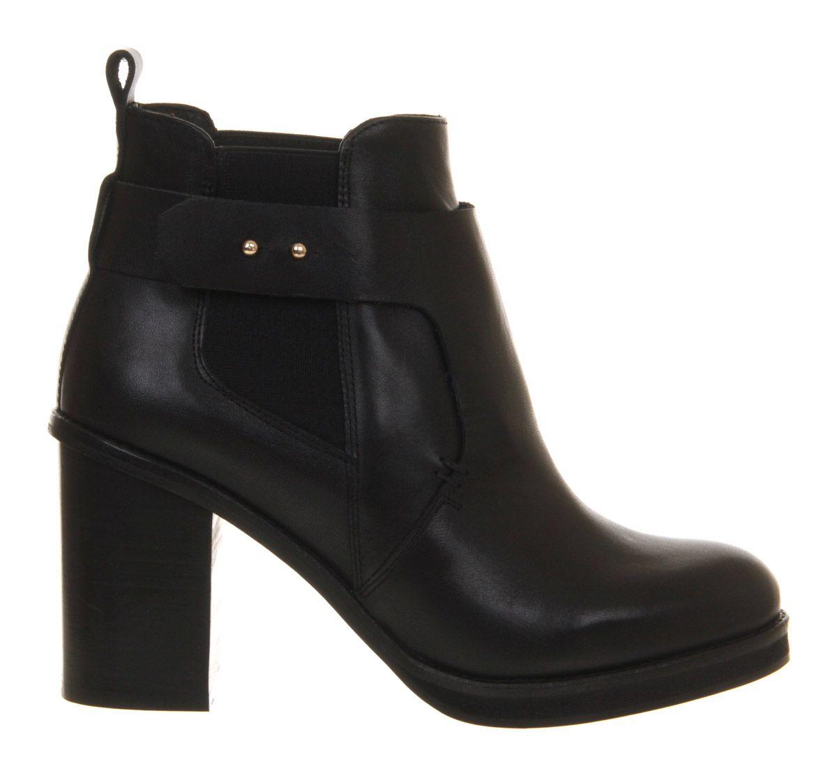 Office Marissa Block Heel Ankle Boots in Black Leather (Black)