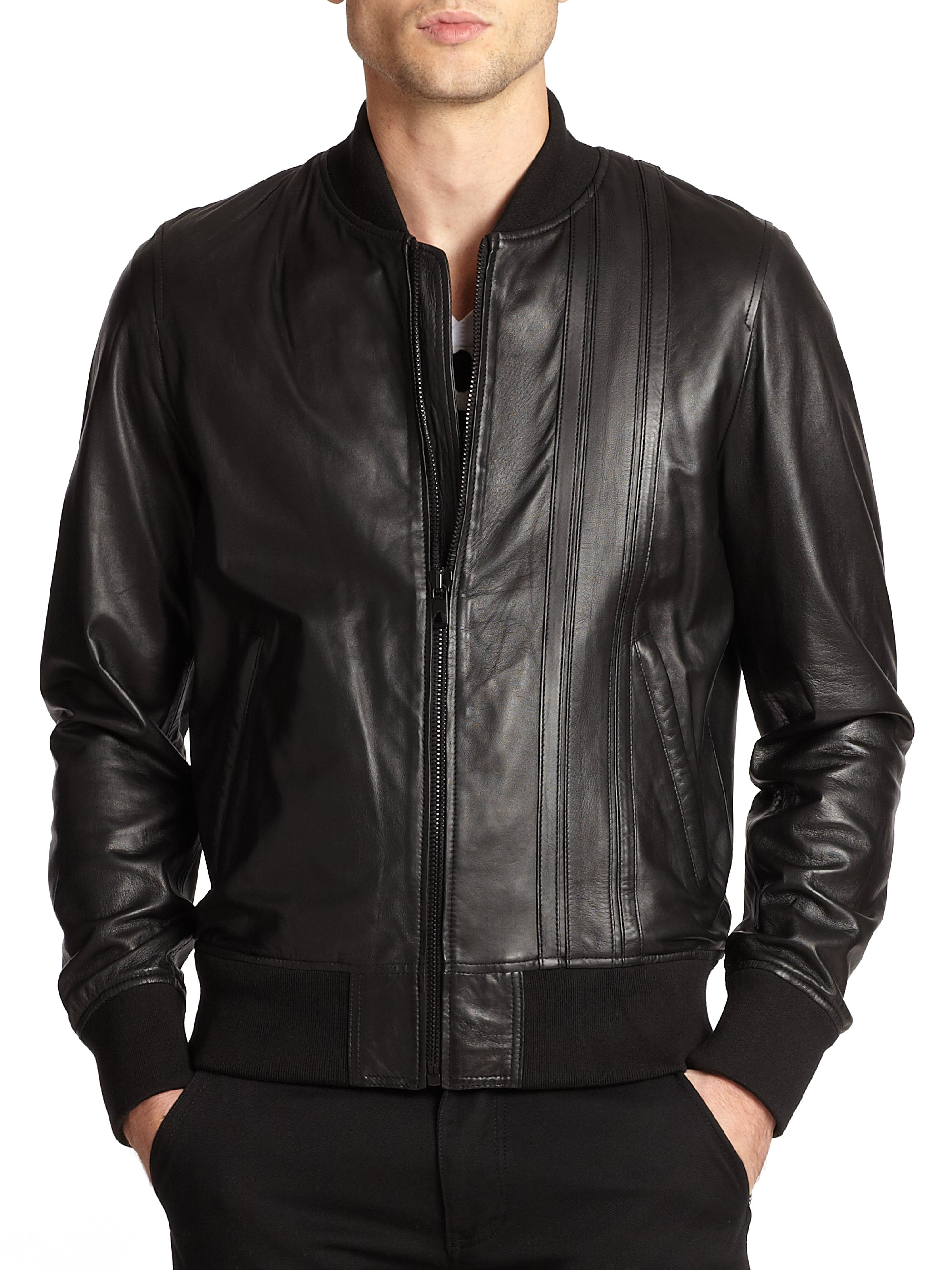 Diesel black gold Leather Flight Jacket in Black for Men | Lyst