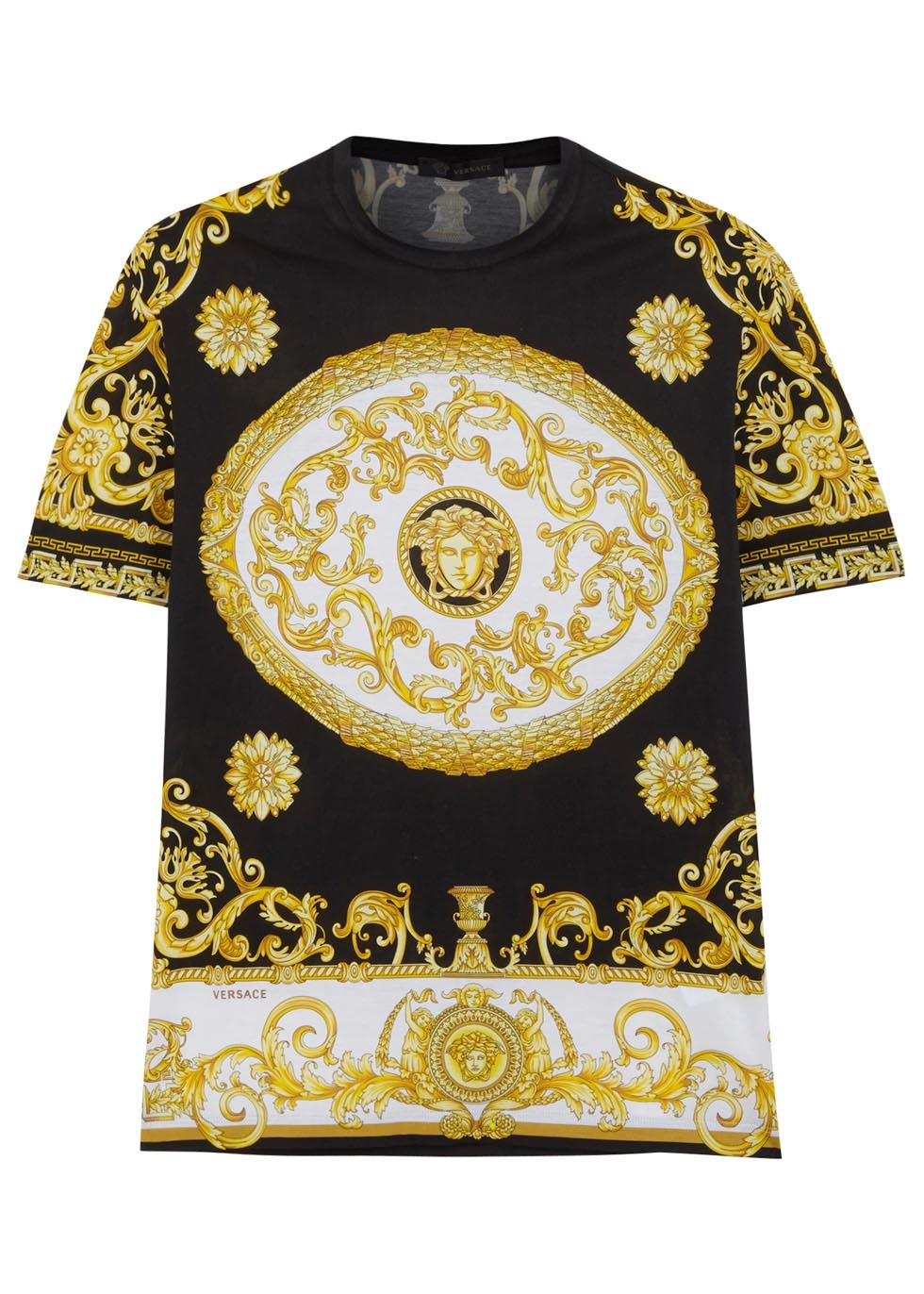 versace pattern cotton blend t shirt in yellow for men. Black Bedroom Furniture Sets. Home Design Ideas
