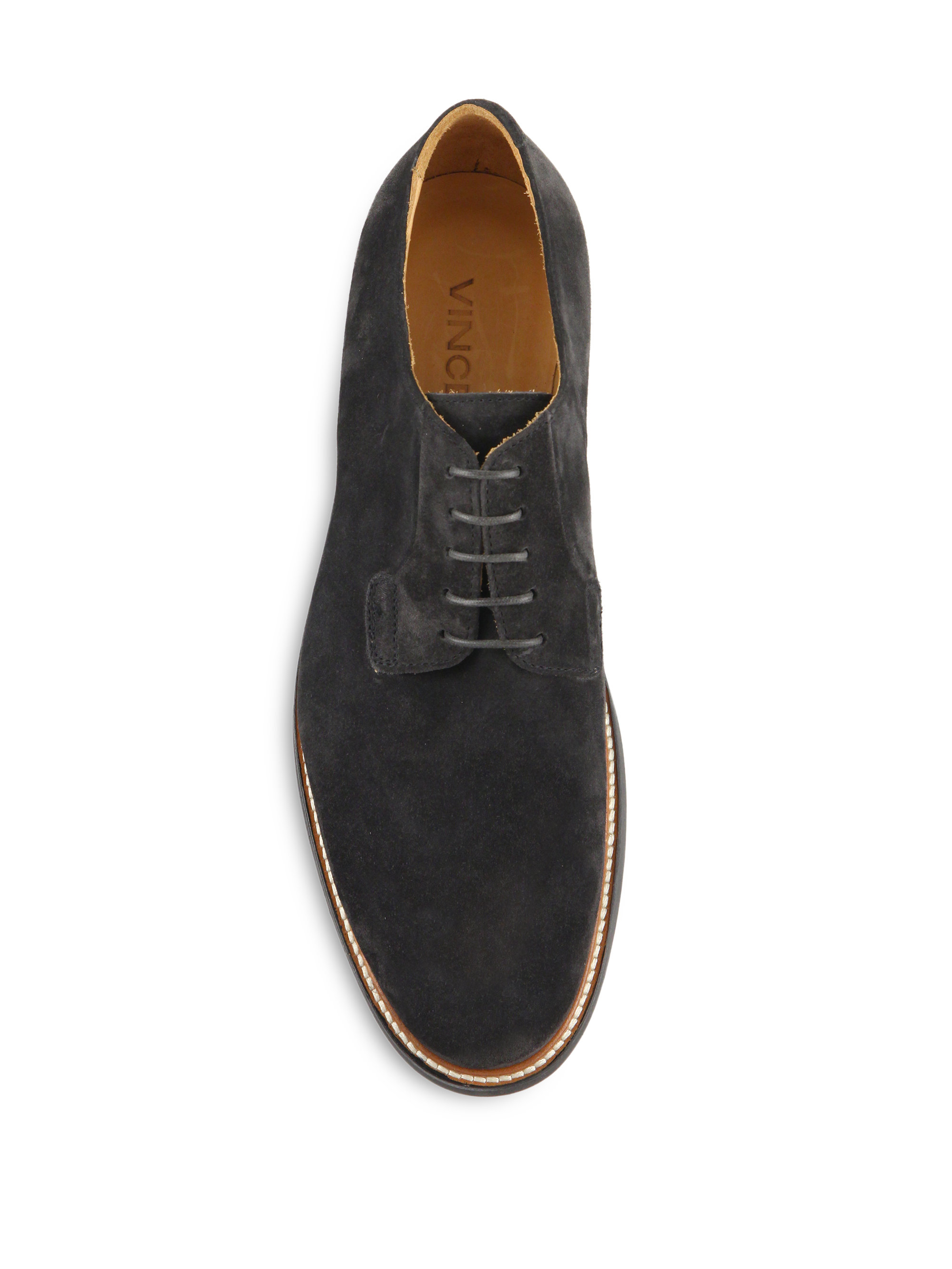 vince suede derby shoes in black for lyst