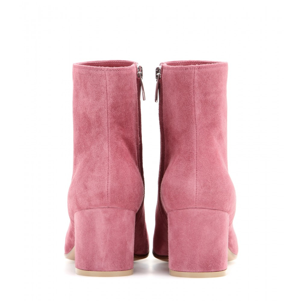 Gianvito Rossi Suede Ankle Boots in Pink