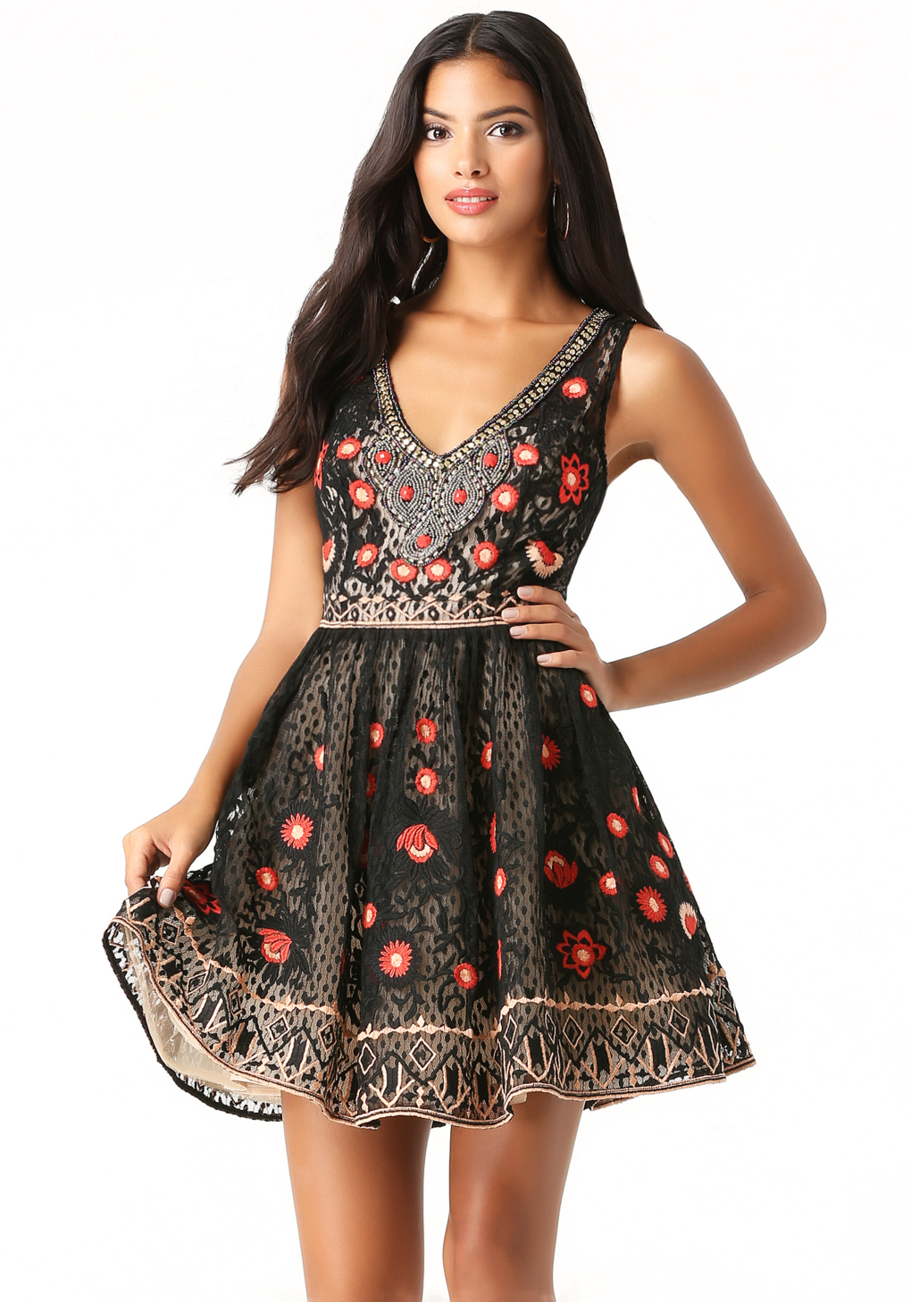 Bebe embroidered flared dress in black lyst