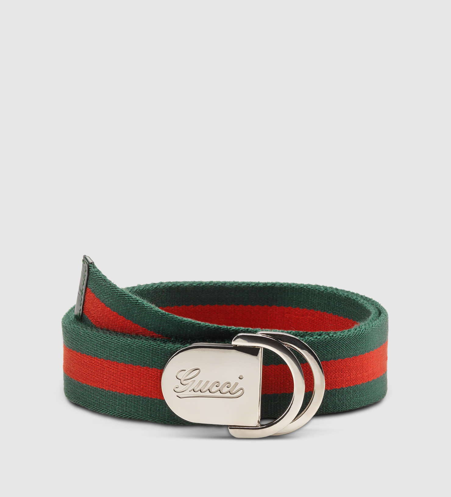 508f6895e7a Gucci Web Belt With Signature Buckle in Green for Men - Lyst