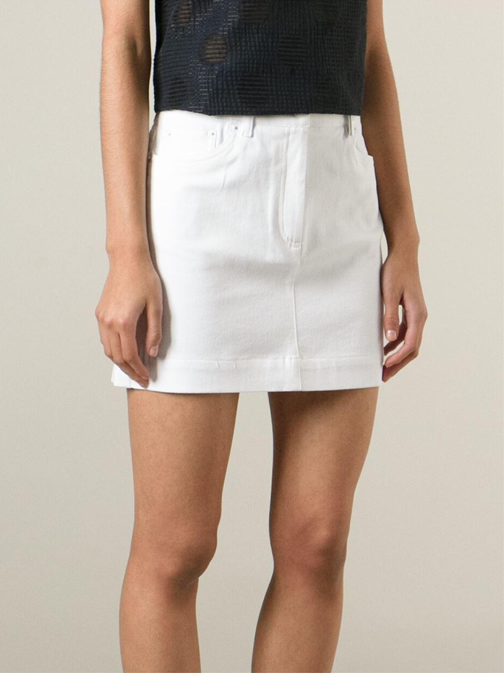 Kenzo Denim Mini Skirt in White | Lyst