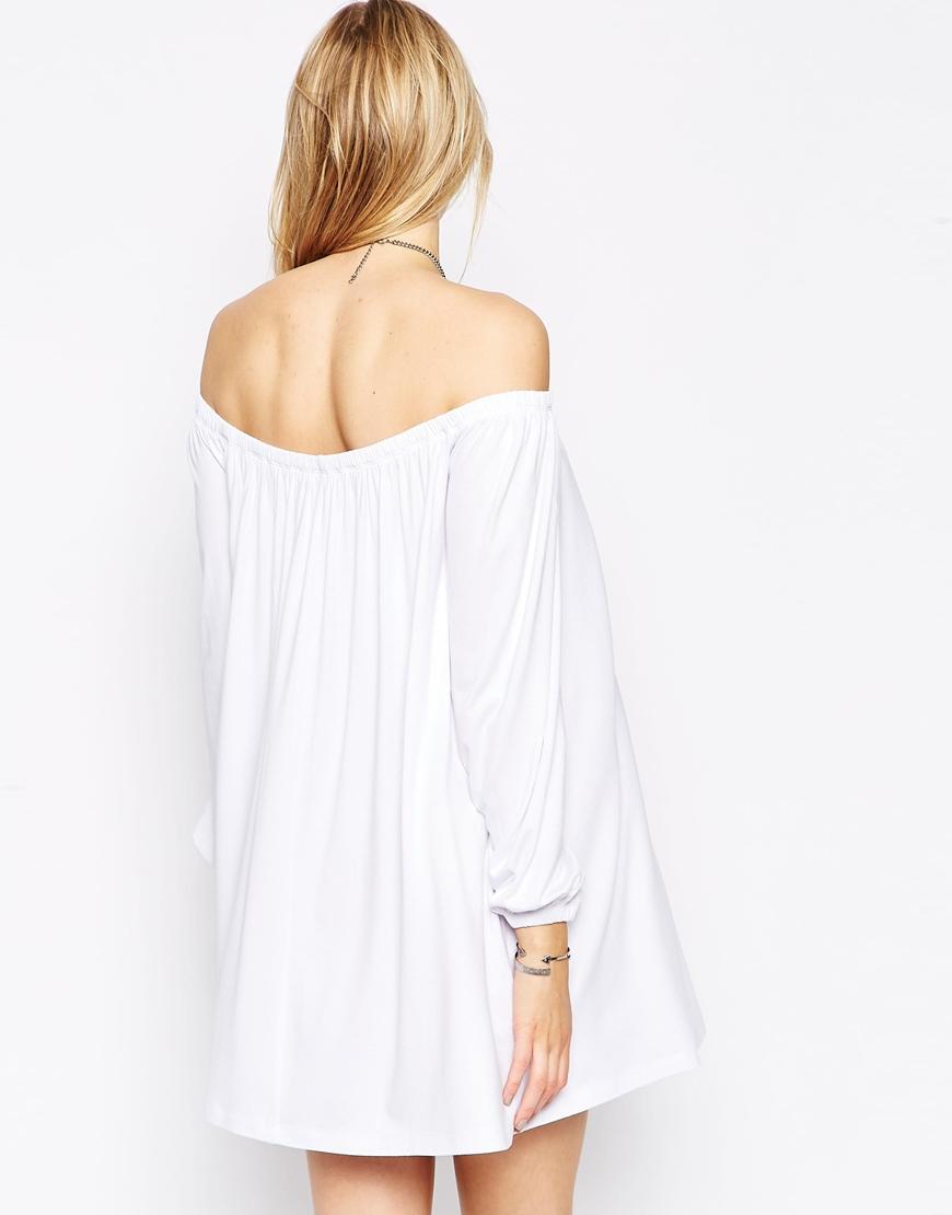 5f47c06875e7 Lyst - ASOS Off Shoulder Swing Dress in White