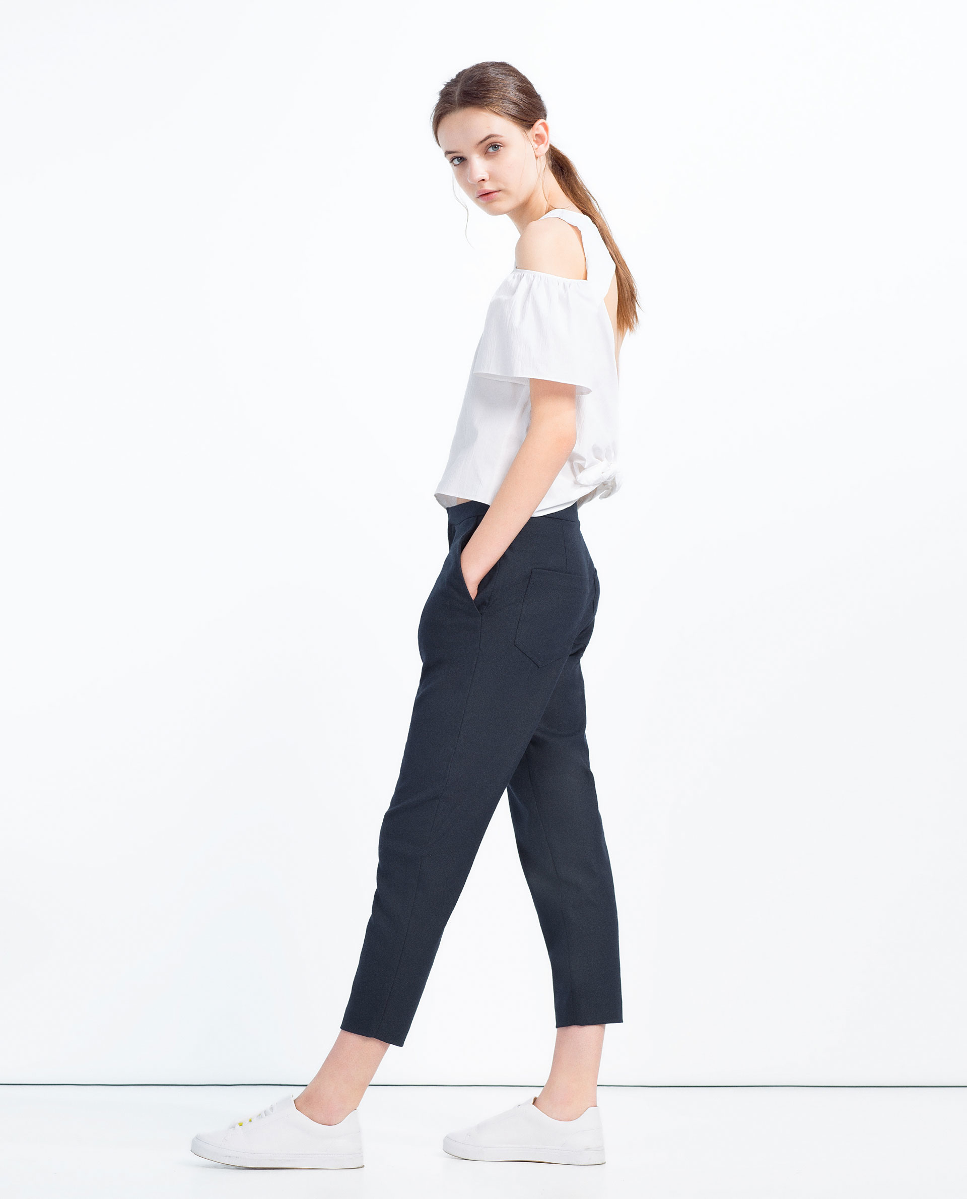 Innovative Zara Baggy Trousers With Tie In Pink  Lyst