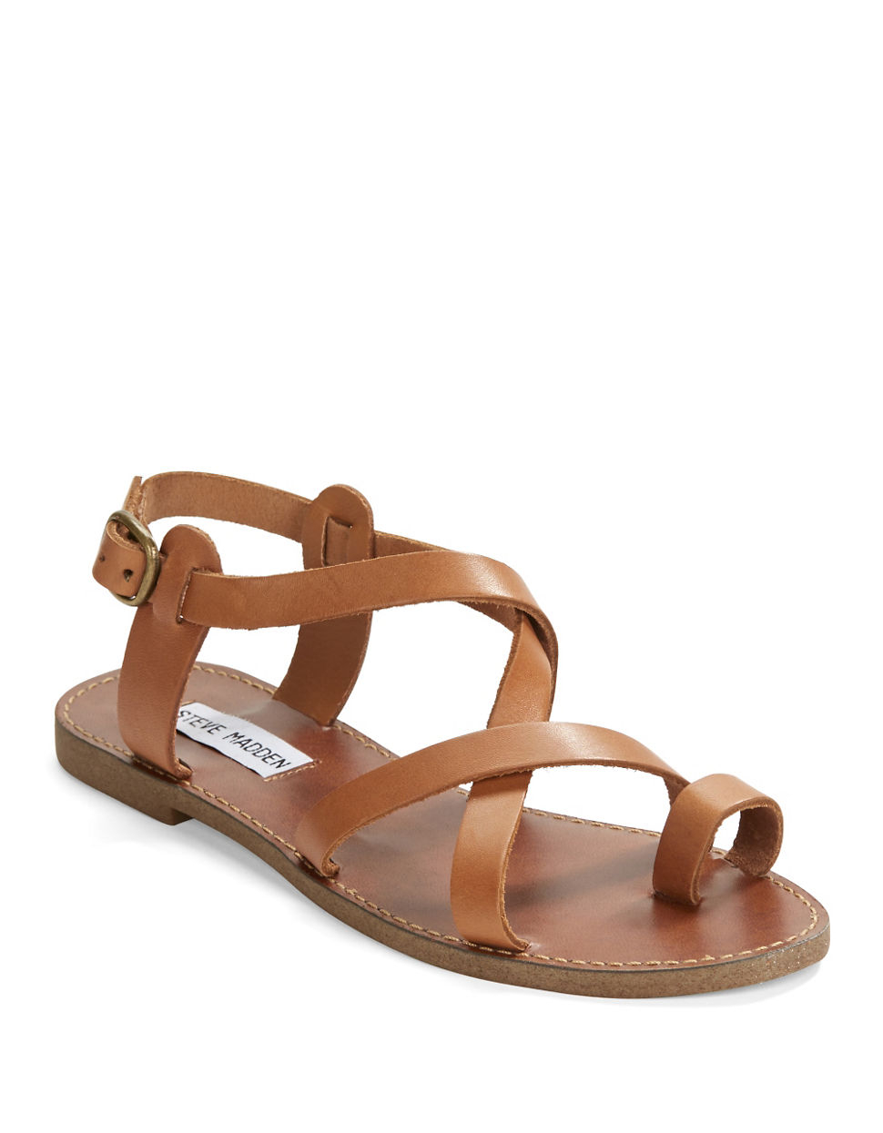 586ae13ba64 Steve Madden Gray Agathist Leather Strappy Sandals