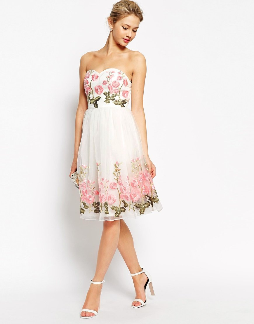 Chi london bandeau full prom dress with floral