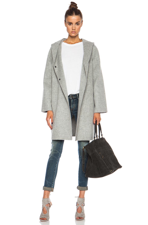 Vince Hooded Wool-blend Coat in Gray | Lyst