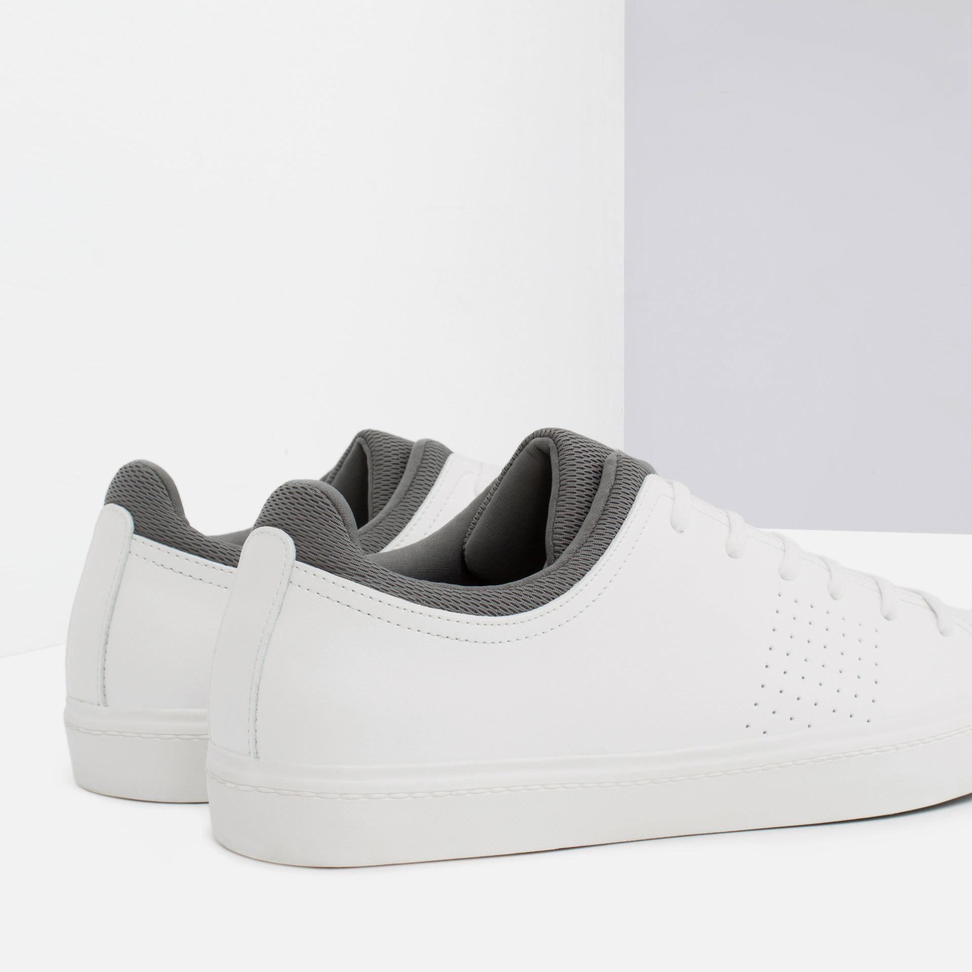 zara combined color sneakers in white for lyst