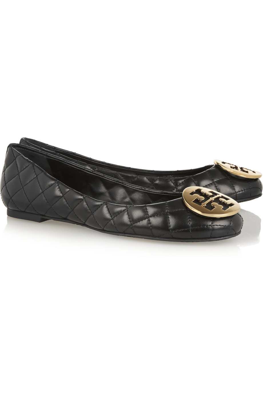 92c232f3b76 Tory Burch Quinn Quilted Leather Ballet Flats in Black - Lyst