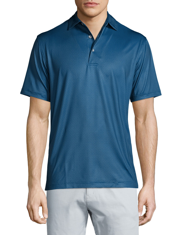 Peter millar mini dot print short sleeve polo shirt in for Peter millar polo shirts
