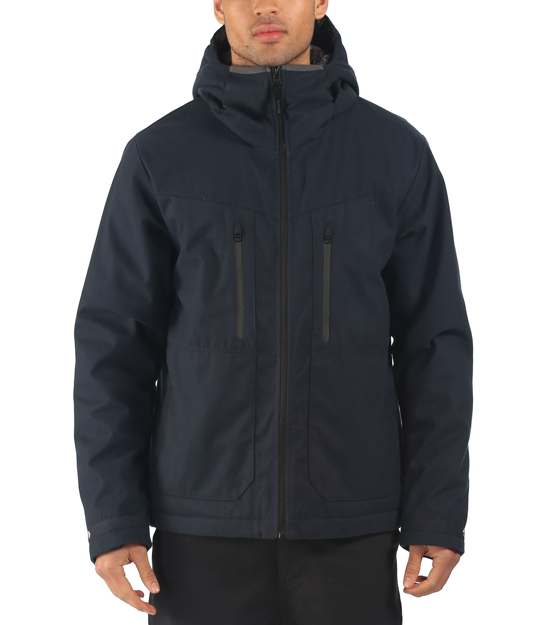 Bench stroke zip thru hooded jacket in blue for men navy Bench jacket