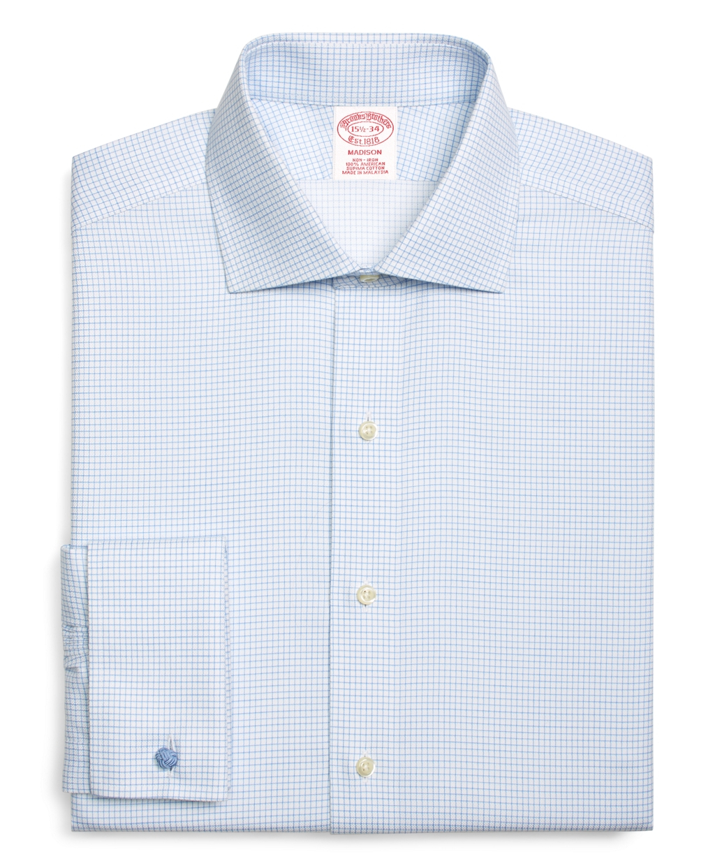 Brooks brothers regent fit windowpane french cuff dress for Light blue french cuff dress shirt