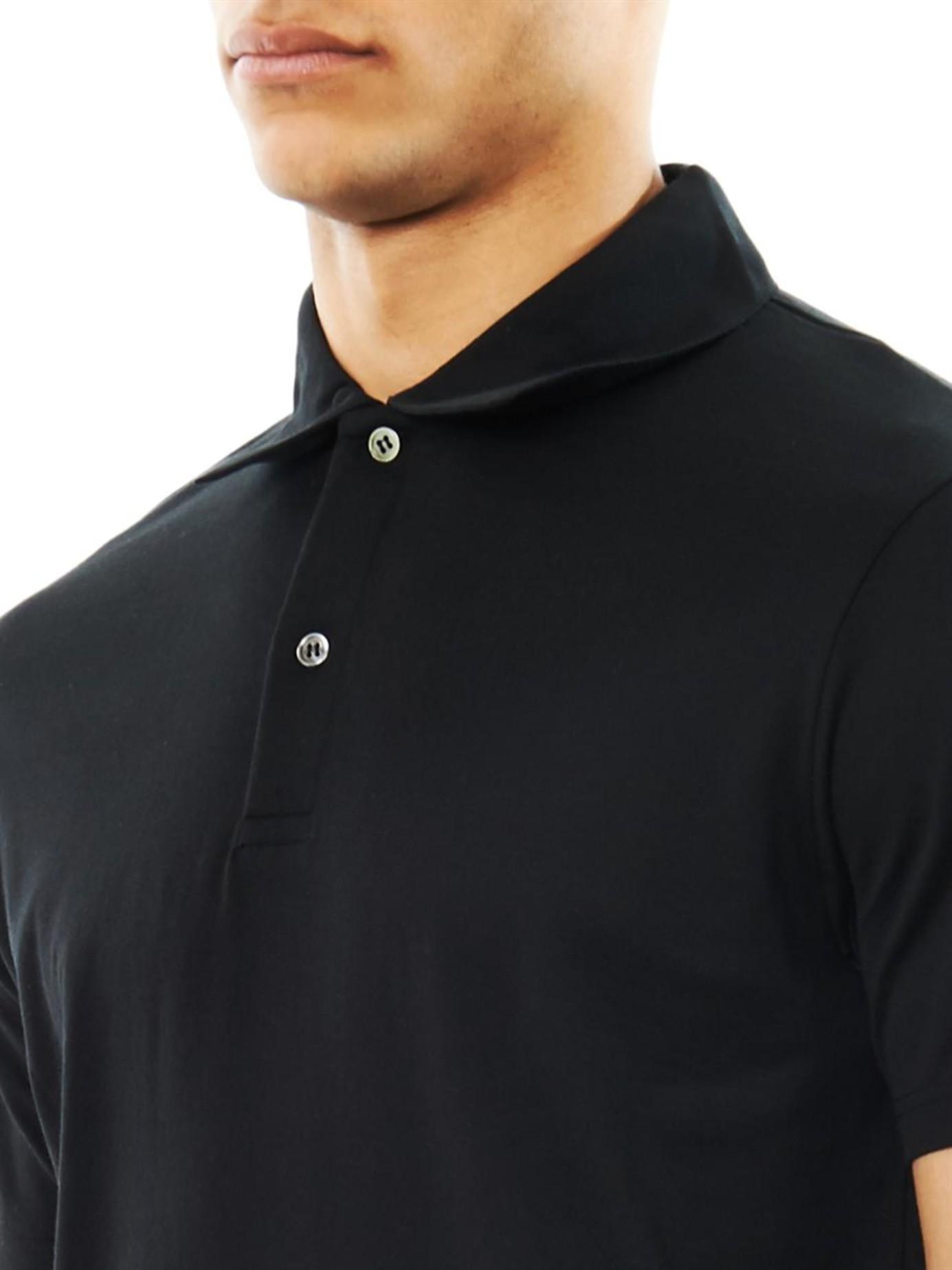 81ee342b Sunspel Cotton-jersey Polo Shirt in Black for Men - Lyst